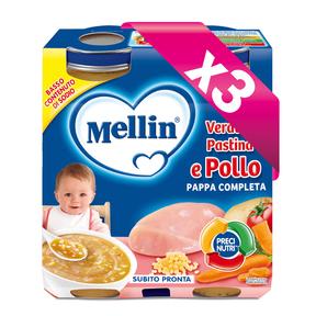 Pappe Complete Kit risparmio 3x Pappa Completa Verdure Pastina Pollo KIT_3X_Confezione da 500 g ℮ (2 vasetti x 250g) su My Mellin Shop