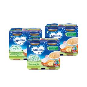 Pappe Complete Kit risparmio 3x Pappa Completa Pastina Verdure Formaggino KIT_3X_Confezione da 400 g ℮ (2 vasetti x 200g) su My Mellin Shop