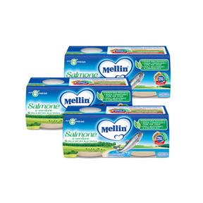 Omogeneizzati di Pesce Kit risparmio 3x Salmone KIT_3X_Confezione da 160 g ℮ (2 vasetti x 80 g) su My Mellin Shop