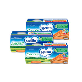 Omogeneizzati Verdure Kit risparmio 3x Carote KIT_3X_Confezione da 160 g ℮ (2 vasetti x 80 g) su My Mellin Shop