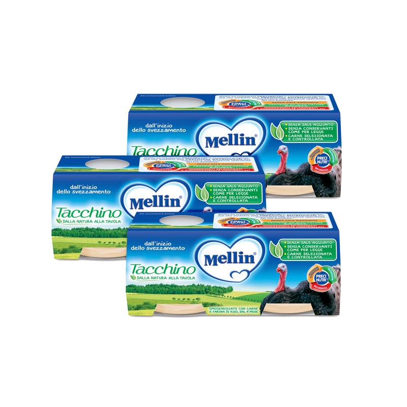 Omogeneizzati Carne Kit risparmio 3x Tacchino KIT_3X_Confezione da 160 g ℮ (2 vasetti x 80 g) su My Mellin Shop
