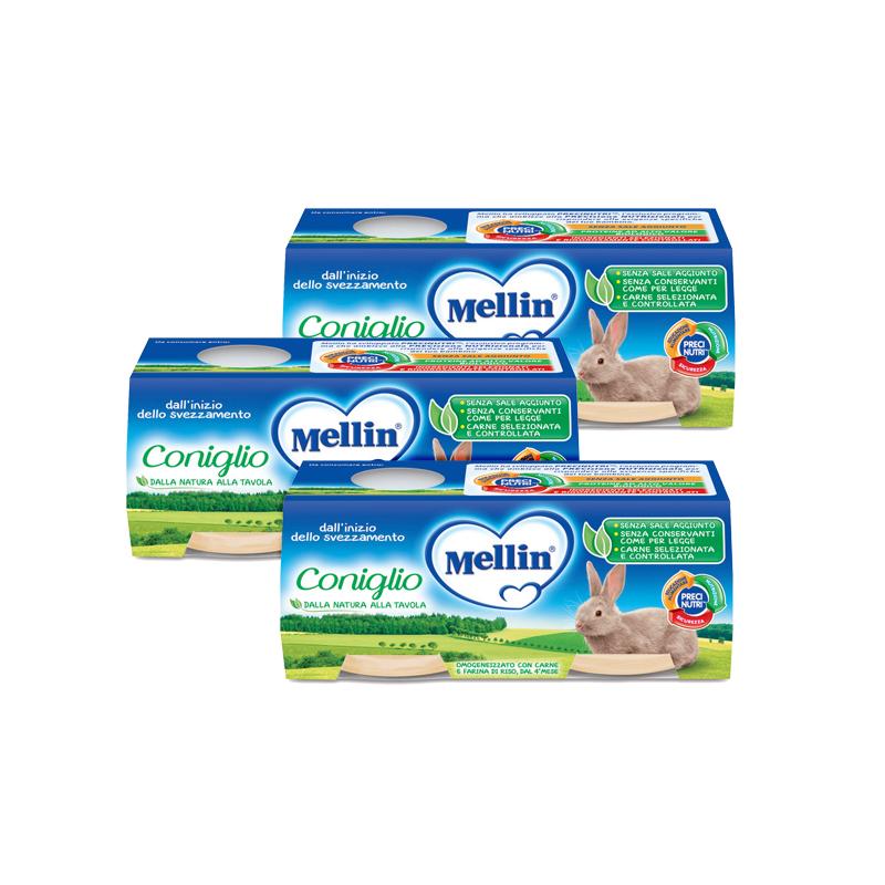 Omogeneizzati Carne Kit risparmio 3x Coniglio KIT_3X_Confezione da 160 g ℮ (2 vasetti x 80 g) su My Mellin Shop