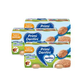 Primi Dentini Carne Kit risparmio 3x Primi Dentini Vitello Kit 3x Confezione da 160 g ℮ (2 vasetti x 80 g) su My Mellin Shop