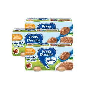Primi Dentini Carne Kit risparmio 3x Primi Dentini Manzo Kit 3x Confezione da 160 g ℮ (2 vasetti x 80 g) su My Mellin Shop