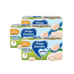 Primi Dentini Carne Kit risparmio 3x Primi Dentini Pollo Kit 3x Confezione da 160 g ℮ (2 vasetti x 80 g) su My Mellin Shop