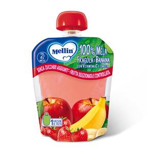 Merende Merenda 100% Mela, fragola e banana con Vitamina C e carota Confezione da 90 g su My Mellin Shop