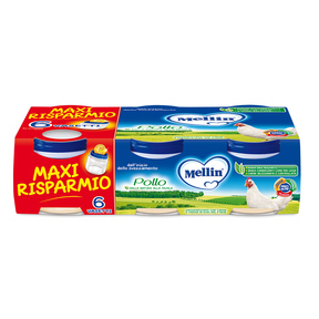 Omogeneizzati Carne Pollo Maxi Risparmio Confezione da 480 g ℮ (6 vasetti x 80 g) su My Mellin Shop