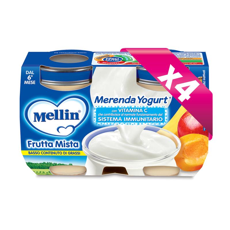 Merende Kit risparmio 4x Merenda Frutta Mista Yogurt* KIT_4X_Confezione da 240 g ℮ (2 vasetti x 120 g) su My Mellin Shop