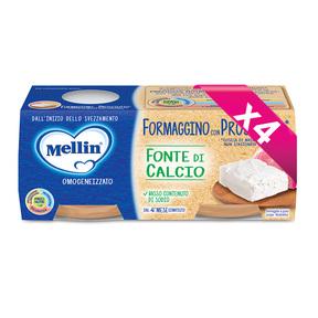 Omogeneizzati Formaggio Kit risparmio 4x Formaggino con Prosciutto* KIT_4X_Confezione da 160 g ℮ (2 vasetti x 80 g) su My Mellin Shop